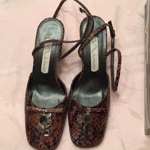 Nina brown Anaconda print heels